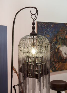 Victorian birdcage lamp on stand