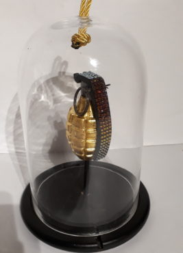 24 ct gold leaf replica hand grenade with volcanic Swarovski crystals